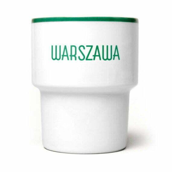"""kubek z napisem """"Warszawa"""" zielony Mamsam"""