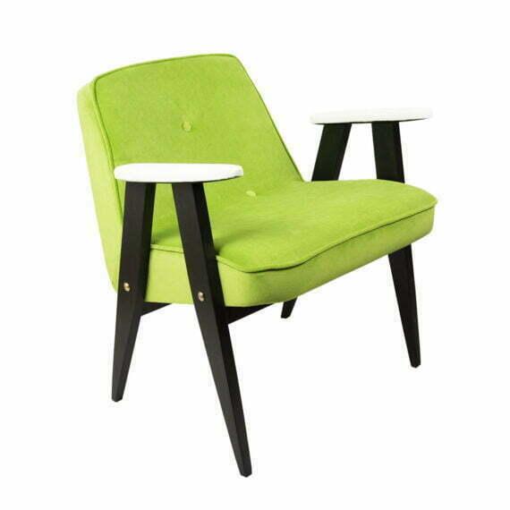 Fotel 366 Chierowski zielony, białe podłokietniki