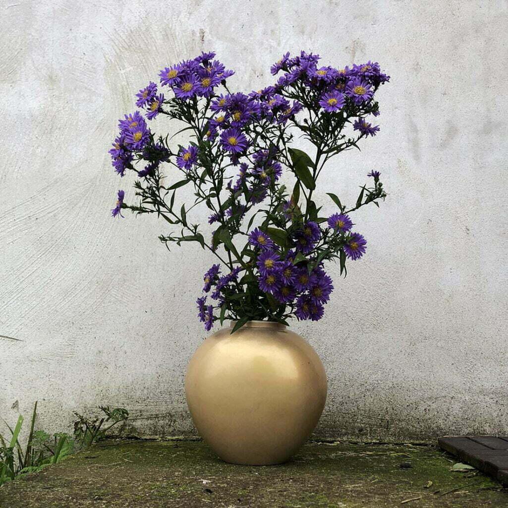 Złoty wazon KPM z polnymi kwaitami