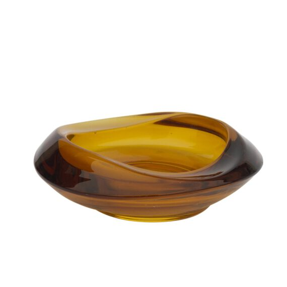 szklana popielniczka, miodowe szkło